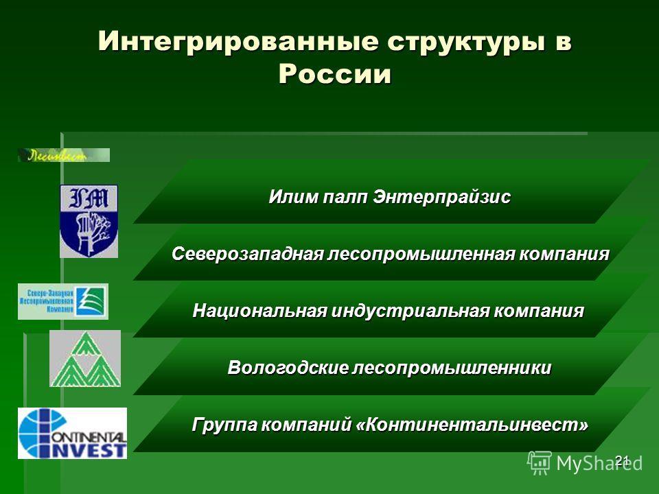 21 Группа компаний «Континентальинвест» Вологодские лесопромышленники Национальная индустриальная компания Северозападная лесопромышленная компания Интегрированные структуры в России Илим палп Энтерпрайзис