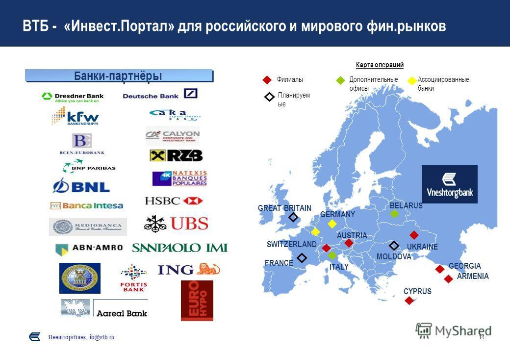 Внешторгбанк, ib@vtb.ru 14 Карта операций ФилиалыАссоциированные банки Дополнительные офисы Планируем ые AUSTRIA ITALY GERMANY UKRAINE SWITZERLAND BELARUS CYPRUS ARMENIA GEORGIA GREAT BRITAIN FRANCE MOLDOVA ВТБ - «Инвест.Портал» для российского и мир