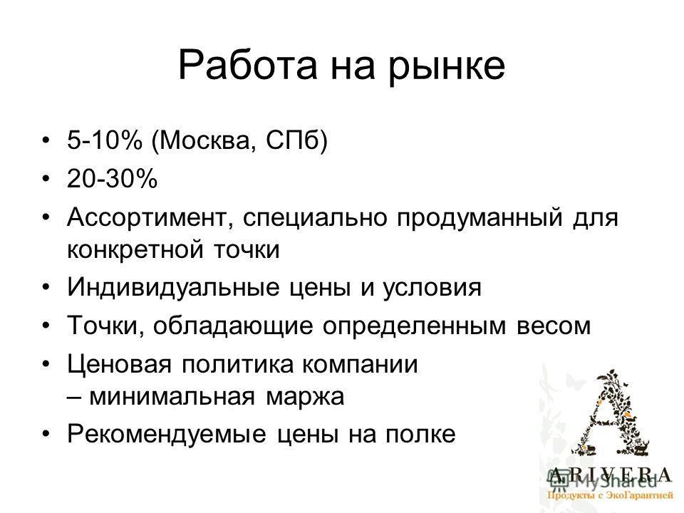 Работа на рынке 5-10% (Москва, СПб) 20-30% Ассортимент, специально продуманный для конкретной точки Индивидуальные цены и условия Точки, обладающие определенным весом Ценовая политика компании – минимальная маржа Рекомендуемые цены на полке