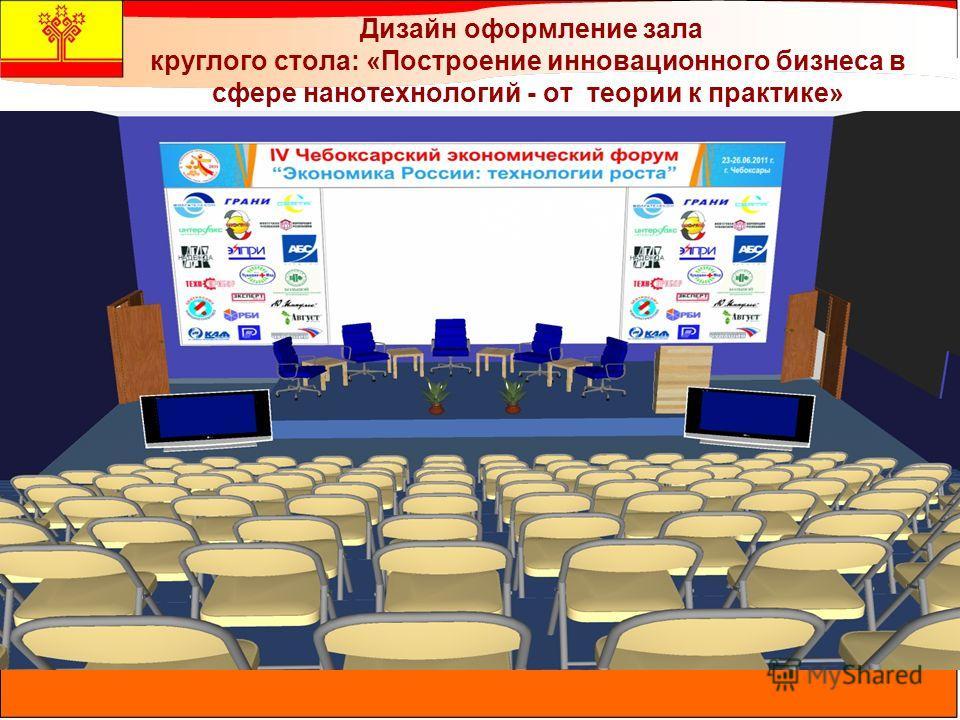Дизайн оформление зала круглого стола: «Построение инновационного бизнеса в сфере нанотехнологий - от теории к практике»