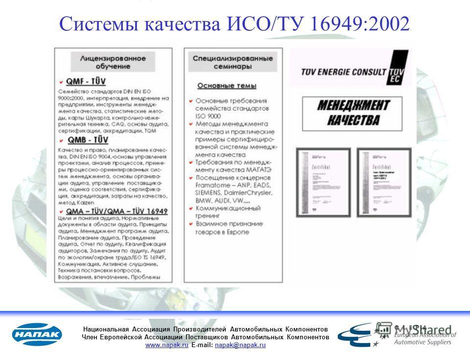 32 Системы качества ИСО/ТУ 16949:2002 Национальная Ассоциация Производителей Автомобильных Компонентов Член Европейской Ассоциации Поставщиков Автомобильных Компонентов www.napak.ru E-mail: napak@napak.ru
