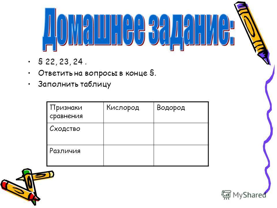 § 22, 23, 24. Ответить на вопросы в конце §. Заполнить таблицу Признаки сравнения КислородВодород Сходство Различия