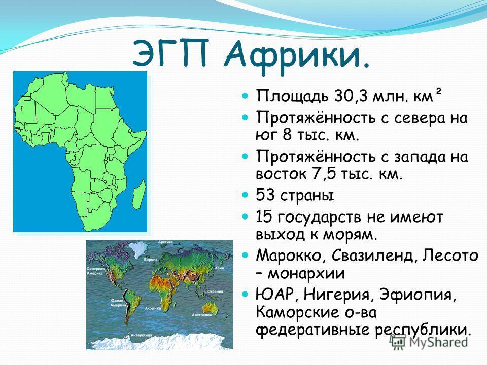ЭГП Африки. Площадь 30,3 млн. км² Протяжённость с севера на юг 8 тыс. км. Протяжённость с запада на восток 7,5 тыс. км. 53 страны 15 государств не имеют выход к морям. Марокко, Свазиленд, Лесото – монархии ЮАР, Нигерия, Эфиопия, Каморские о-ва федера