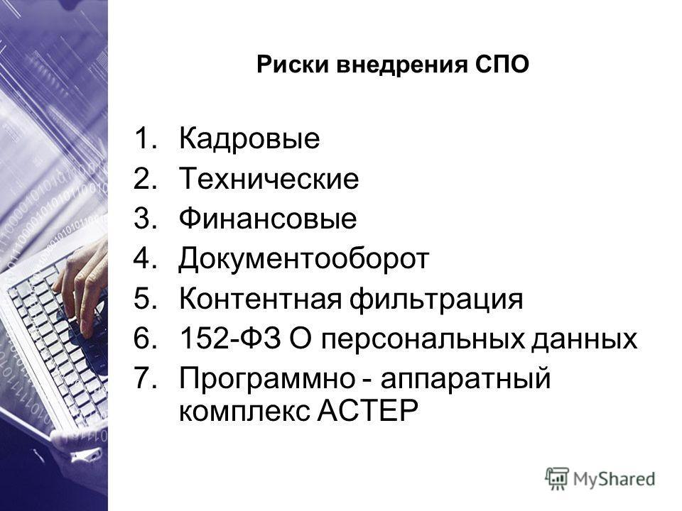 Риски внедрения СПО 1.Кадровые 2.Технические 3.Финансовые 4.Документооборот 5.Контентная фильтрация 6.152-ФЗ О персональных данных 7.Программно - аппаратный комплекс АСТЕР