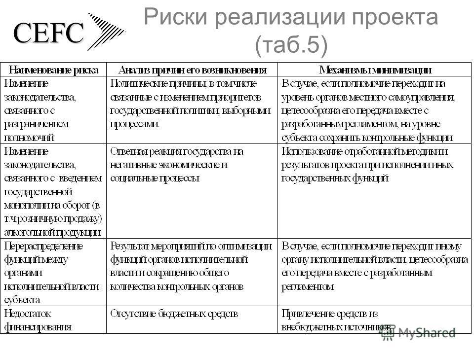 CEFC Риски реализации проекта (таб.5)