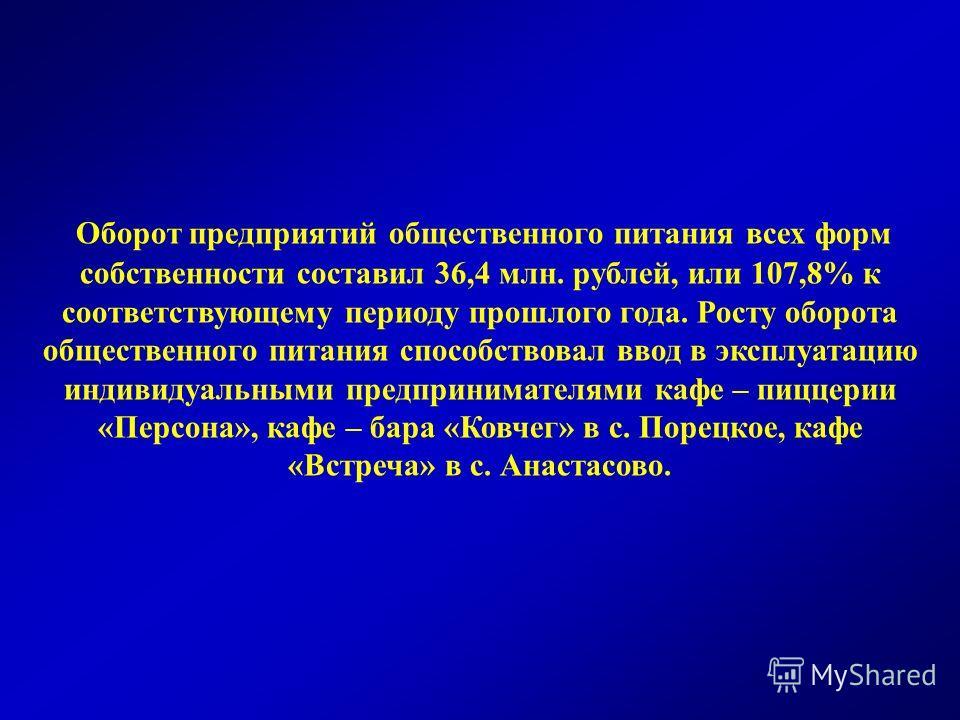 Оборот предприятий общественного питания всех форм собственности составил 36,4 млн. рублей, или 107,8% к соответствующему периоду прошлого года. Росту оборота общественного питания способствовал ввод в эксплуатацию индивидуальными предпринимателями к