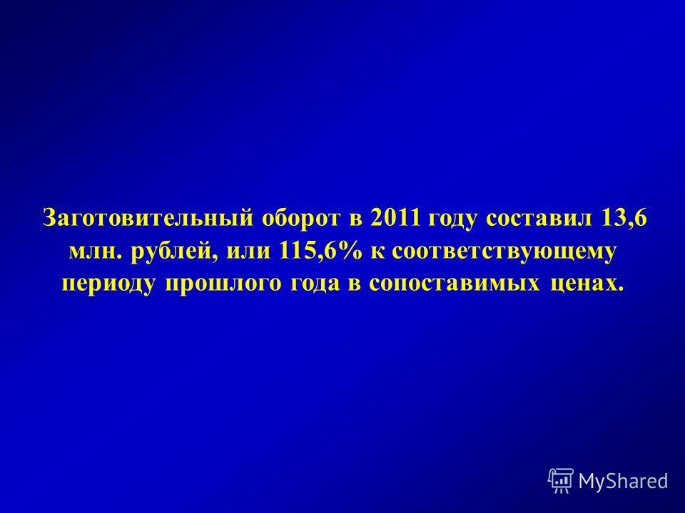 Заготовительный оборот в 2011 году составил 13,6 млн. рублей, или 115,6% к соответствующему периоду прошлого года в сопоставимых ценах.