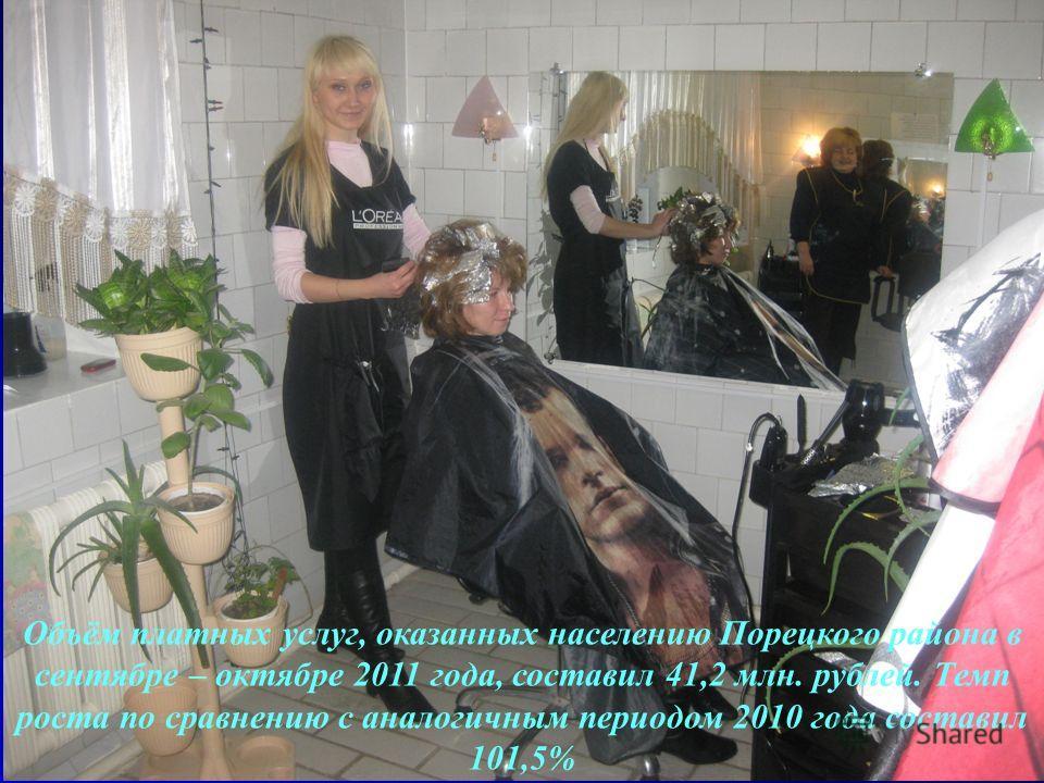 Объём платных услуг, оказанных населению Порецкого района в сентябре – октябре 2011 года, составил 41,2 млн. рублей. Темп роста по сравнению с аналогичным периодом 2010 года составил 101,5%