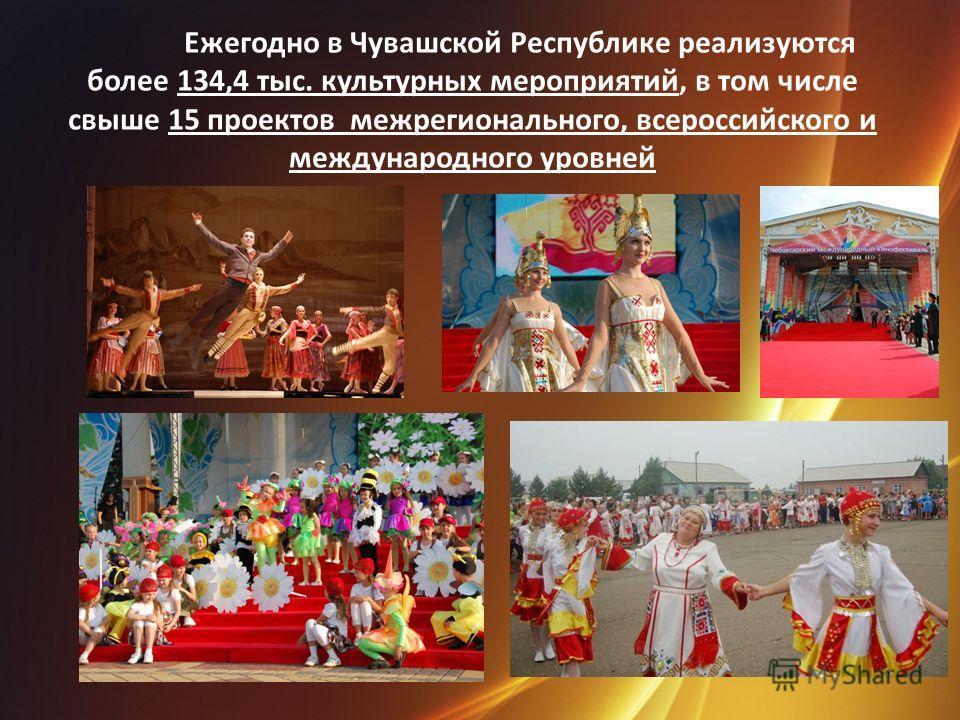 Ежегодно в Чувашской Республике реализуются более 134,4 тыс. культурных мероприятий, в том числе свыше 15 проектов межрегионального, всероссийского и международного уровней