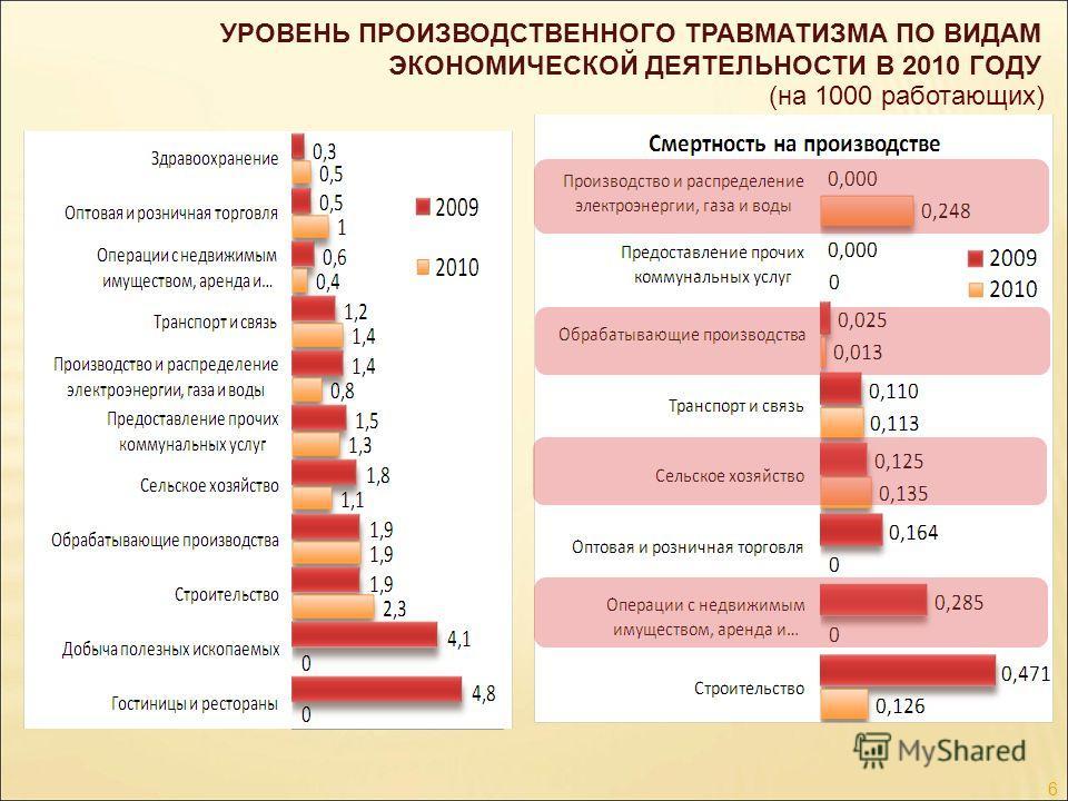 УРОВЕНЬ ПРОИЗВОДСТВЕННОГО ТРАВМАТИЗМА ПО ВИДАМ ЭКОНОМИЧЕСКОЙ ДЕЯТЕЛЬНОСТИ В 2010 ГОДУ (на 1000 работающих) 6