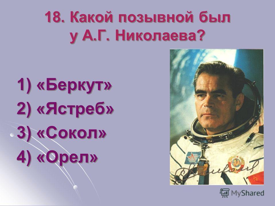 18. Какой позывной был у А.Г. Николаева? 1) «Беркут» 2) «Ястреб» 3) «Сокол» 4) «Орел» 1) «Беркут» 2) «Ястреб» 3) «Сокол» 4) «Орел»