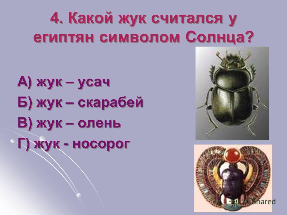 4. Какой жук считался у египтян символом Солнца? А) жук – усач Б) жук – скарабей В) жук – олень Г) жук - носорог А) жук – усач Б) жук – скарабей В) жук – олень Г) жук - носорог