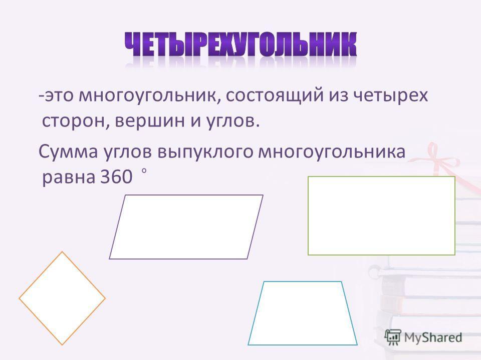 -это многоугольник, состоящий из четырех сторон, вершин и углов. Сумма углов выпуклого многоугольника равна 360