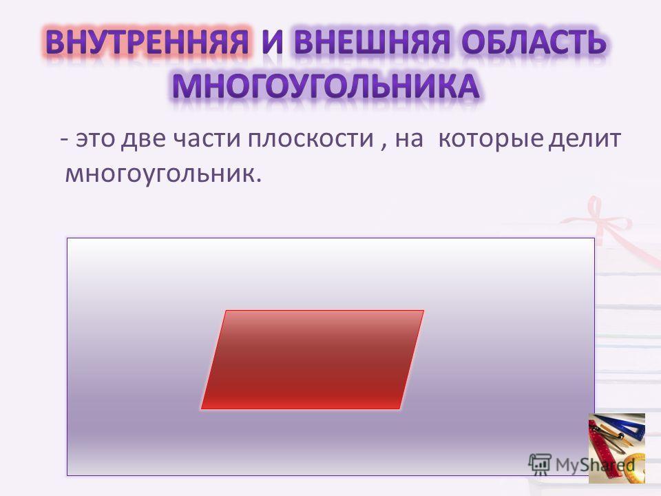 - это две части плоскости, на которые делит многоугольник.