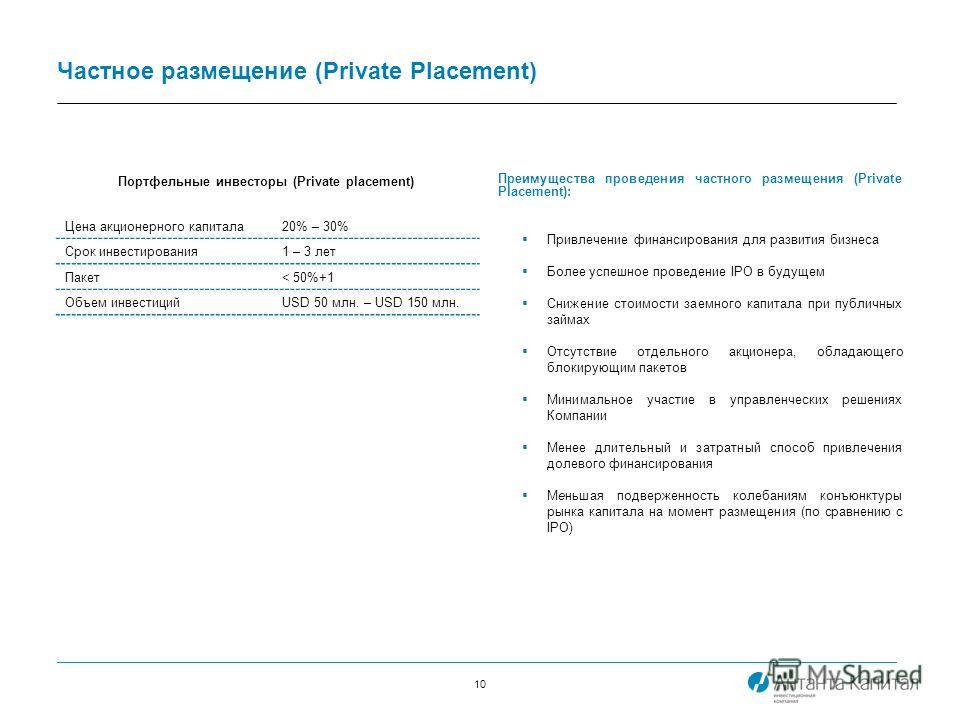 10 Частное размещение (Private Placement) Преимущества проведения частного размещения (Private Placement): Привлечение финансирования для развития бизнеса Более успешное проведение IPO в будущем Снижение стоимости заемного капитала при публичных займ