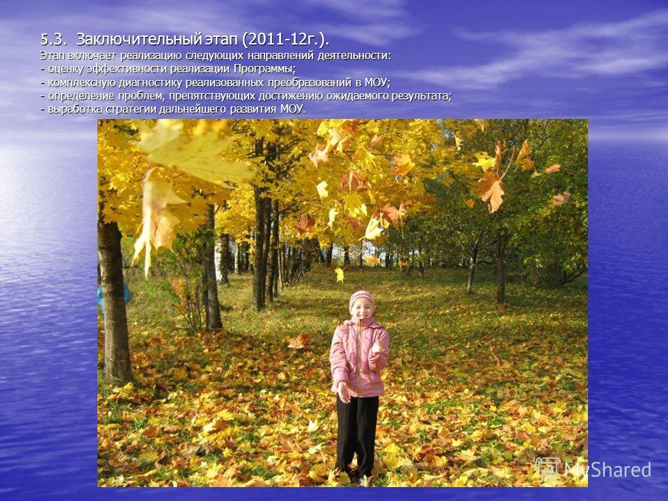 5.3. Заключительный этап (2011-12г.). Этап включает реализацию следующих направлений деятельности: - оценку эффективности реализации Программы; - комплексную диагностику реализованных преобразований в МОУ; - определение проблем, препятствующих достиж