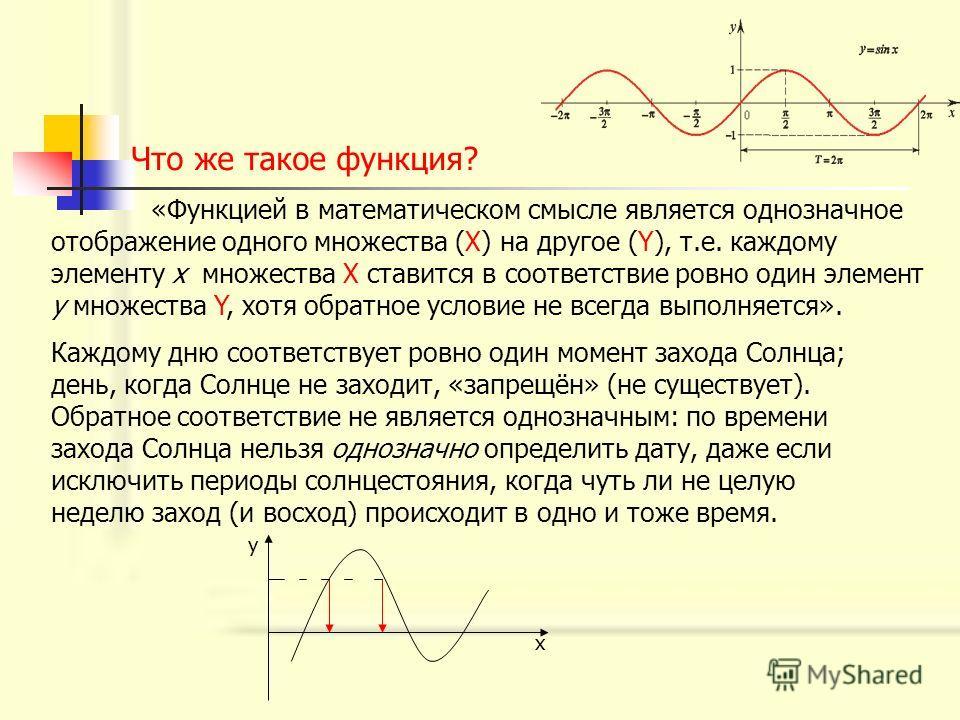 Что же такое функция? «Функцией в математическом смысле является однозначное отображение одного множества (Х) на другое (Y), т.е. каждому элементу х множества Х ставится в соответствие ровно один элемент у множества Y, хотя обратное условие не всегда