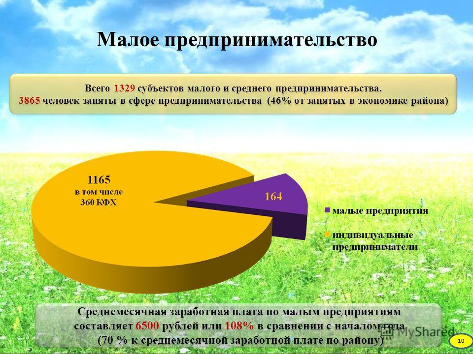 Малое предпринимательство Всего 1329 субъектов малого и среднего предпринимательства. 3865 человек заняты в сфере предпринимательства (46% от занятых в экономике района) Всего 1329 субъектов малого и среднего предпринимательства. 3865 человек заняты