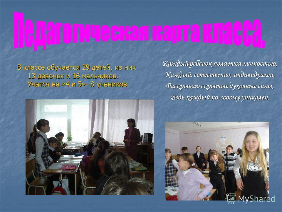 В классе обучается 29 детей, из них 13 девочек и 16 мальчиков. Учатся на «4 и 5»- 8 учеников Каждый ребенок является личностью, Каждый, естественно, индивидуален, Раскрываю скрытые духовные силы, Ведь каждый по-своему уникален.