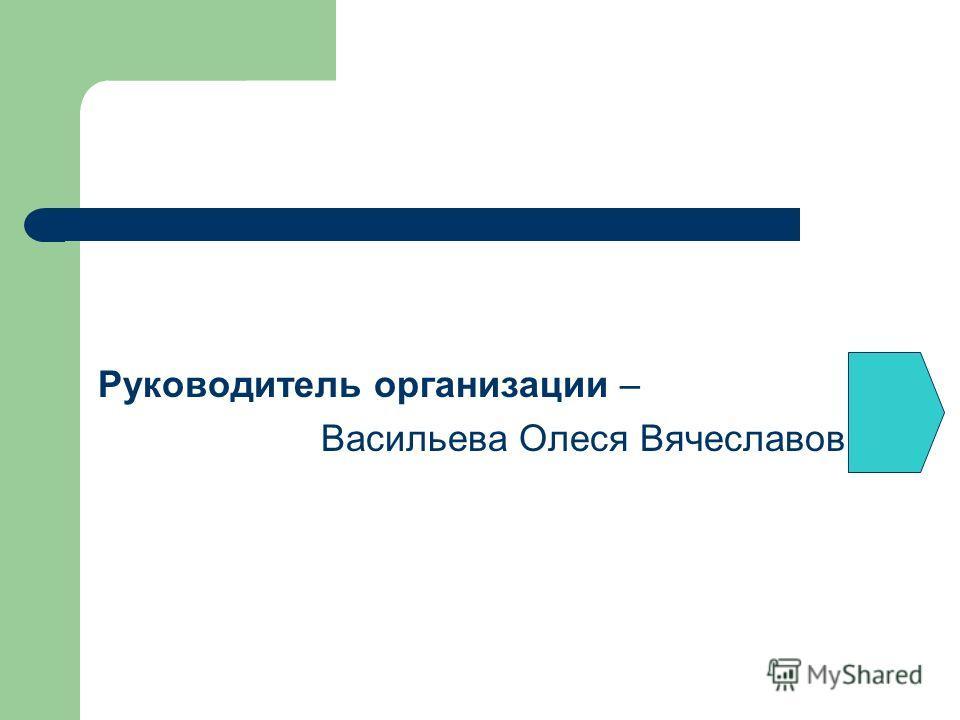 Руководитель организации – Васильева Олеся Вячеславовна