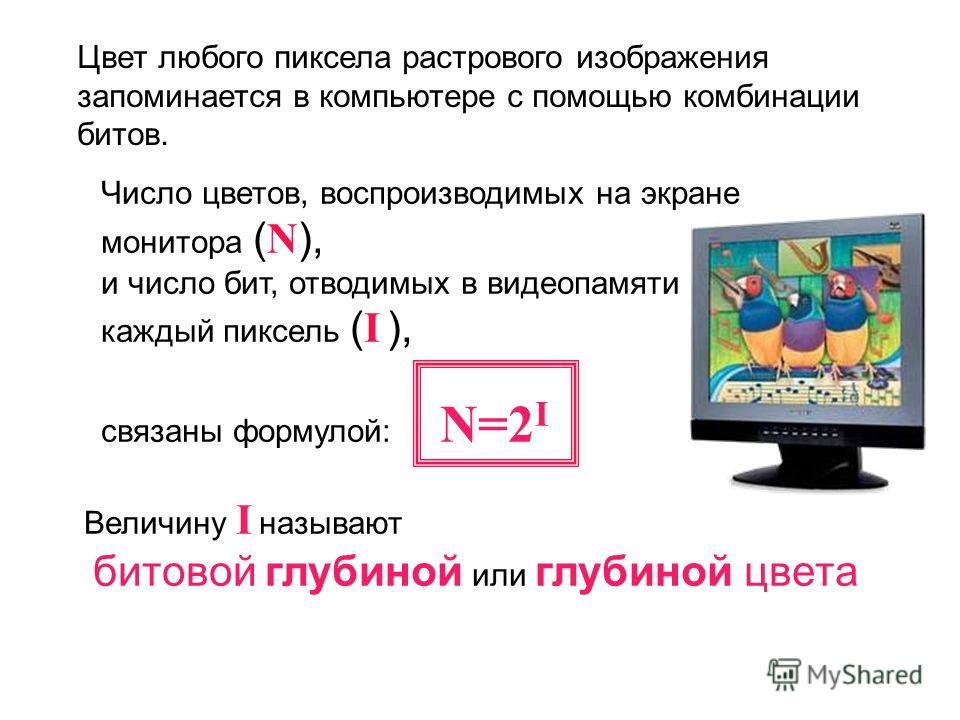 Число цветов, воспроизводимых на экране монитора ( N ), и число бит, отводимых в видеопамяти на каждый пиксель ( I ), связаны формулой: N=2 I Величину I называют битовой глубиной или глубиной цвета Цвет любого пиксела растрового изображения запоминае