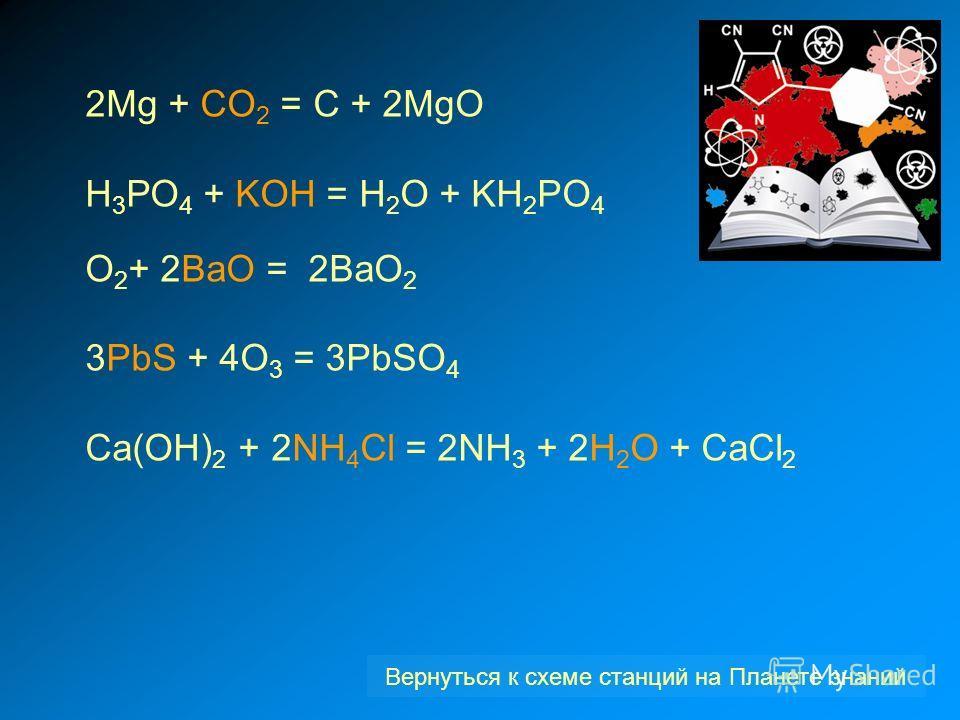 2Mg + CO 2 = C + 2MgO Н 3 РО 4 + KOH = H 2 O + KH 2 PO 4 O 2 + 2ВаО = 2ВаО 2 3PbS + 4О 3 = 3PbSO 4 Са(ОН) 2 + 2NH 4 Cl = 2NH 3 + 2H 2 O + CaCl 2 Вернуться к схеме станций на Планете знаний