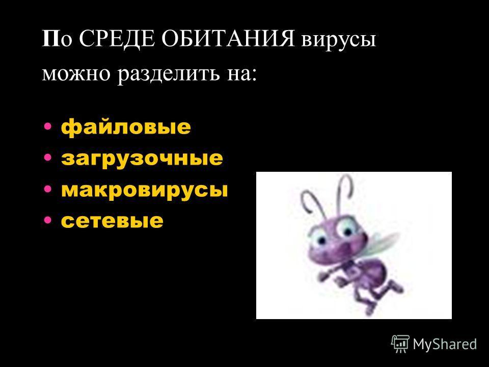 По СРЕДЕ ОБИТАНИЯ вирусы можно разделить на: файловые загрузочные макровирусы сетевые