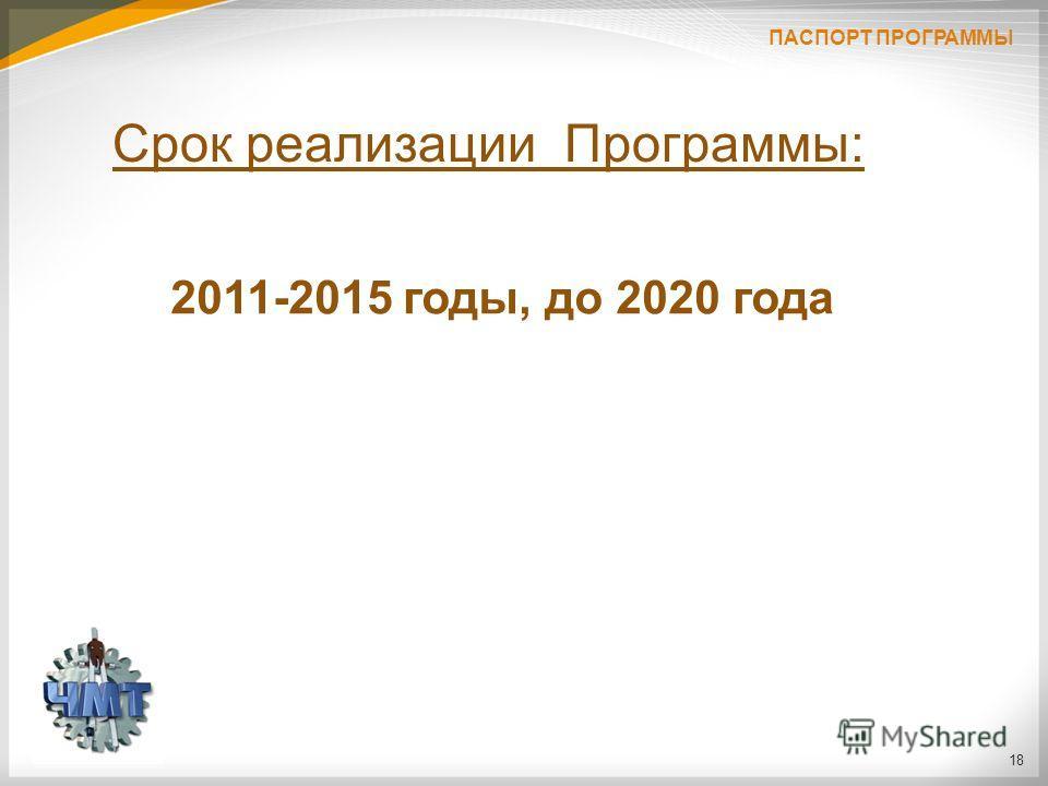 18 2011-2015 годы, до 2020 года Срок реализации Программы: ПАСПОРТ ПРОГРАММЫ