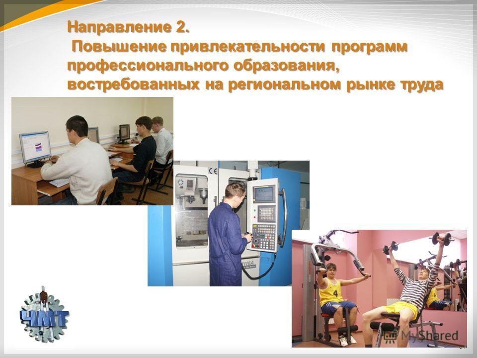 Направление 2. Повышение привлекательности программ профессионального образования, востребованных на региональном рынке труда 34