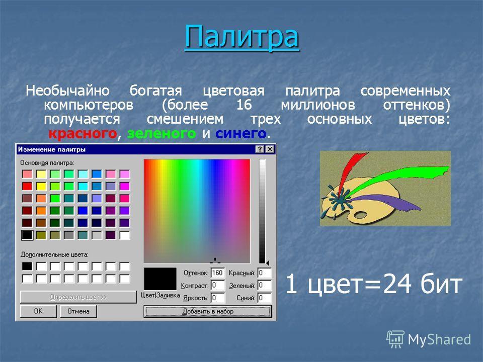 Палитра Необычайно богатая цветовая палитра современных компьютеров (более 16 миллионов оттенков) получается смешением трех основных цветов: красного, зеленого и синего. 1 цвет=24 бит