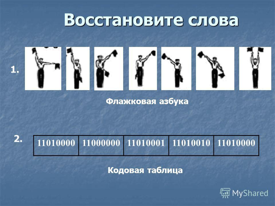 Восстановите слова 1. 2. Флажковая азбука 1101000011000000110100011101001011010000 Кодовая таблица