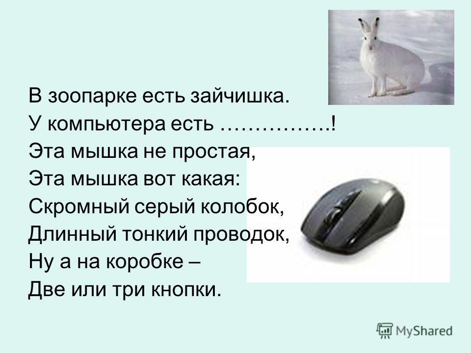 В зоопарке есть зайчишка. У компьютера есть …………….! Эта мышка не простая, Эта мышка вот какая: Скромный серый колобок, Длинный тонкий проводок, Ну а на коробке – Две или три кнопки.