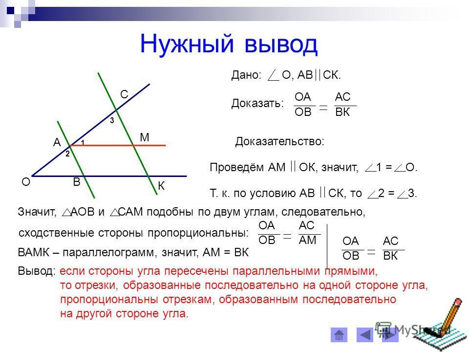 Нужный вывод О А В С К Дано: О, АВ СК. Доказать: ОААС ОВВК Доказательство: 1 3 М 2 Проведём АМ ОК, значит, 1 = О. Т. к. по условию АВ СК, то 2 = 3. Значит, АОВ и САМ подобны по двум углам, следовательно, ОААС ОВАМ сходственные стороны пропорциональны