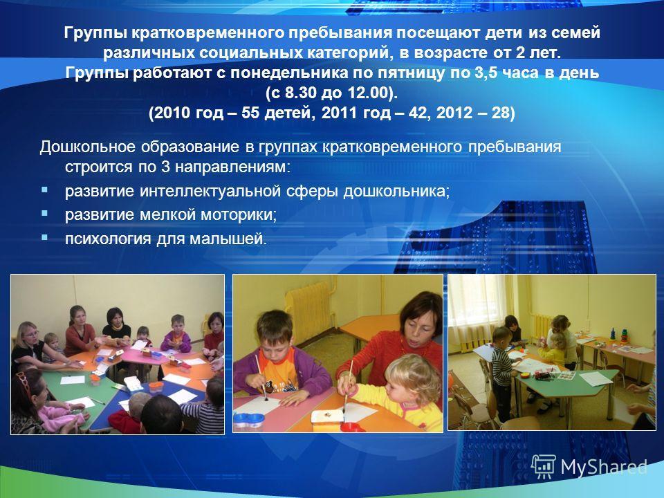 Группы кратковременного пребывания посещают дети из семей различных социальных категорий, в возрасте от 2 лет. Группы работают с понедельника по пятницу по 3,5 часа в день (с 8.30 до 12.00). (2010 год – 55 детей, 2011 год – 42, 2012 – 28) Дошкольное