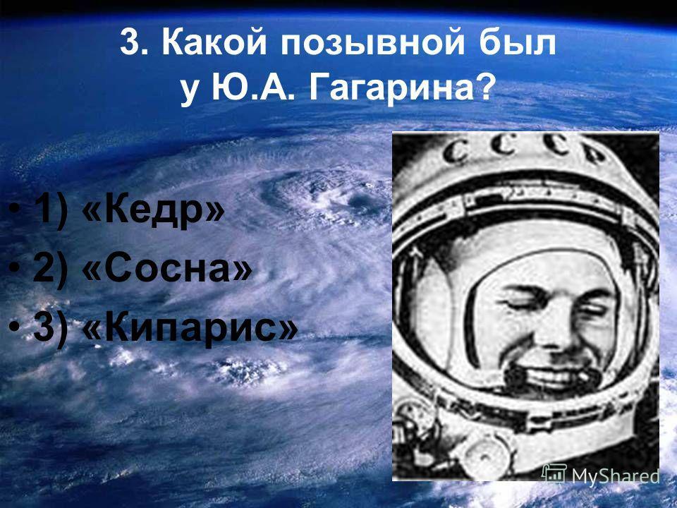 3. Какой позывной был у Ю.А. Гагарина? 1) «Кедр» 2) «Сосна» 3) «Кипарис»