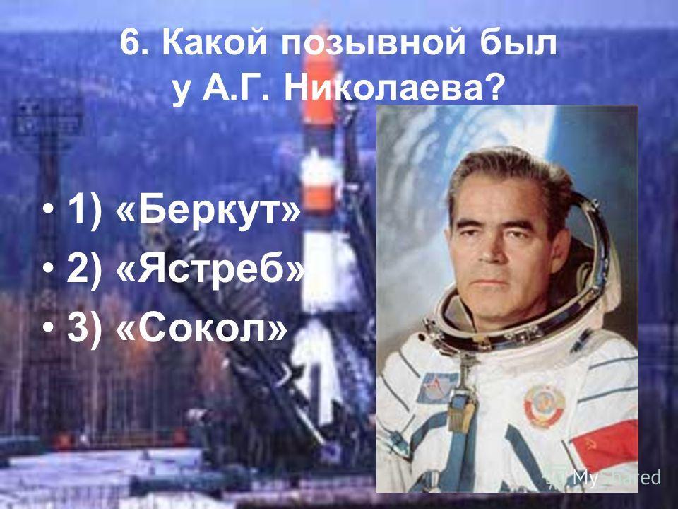 6. Какой позывной был у А.Г. Николаева? 1) «Беркут» 2) «Ястреб» 3) «Сокол»
