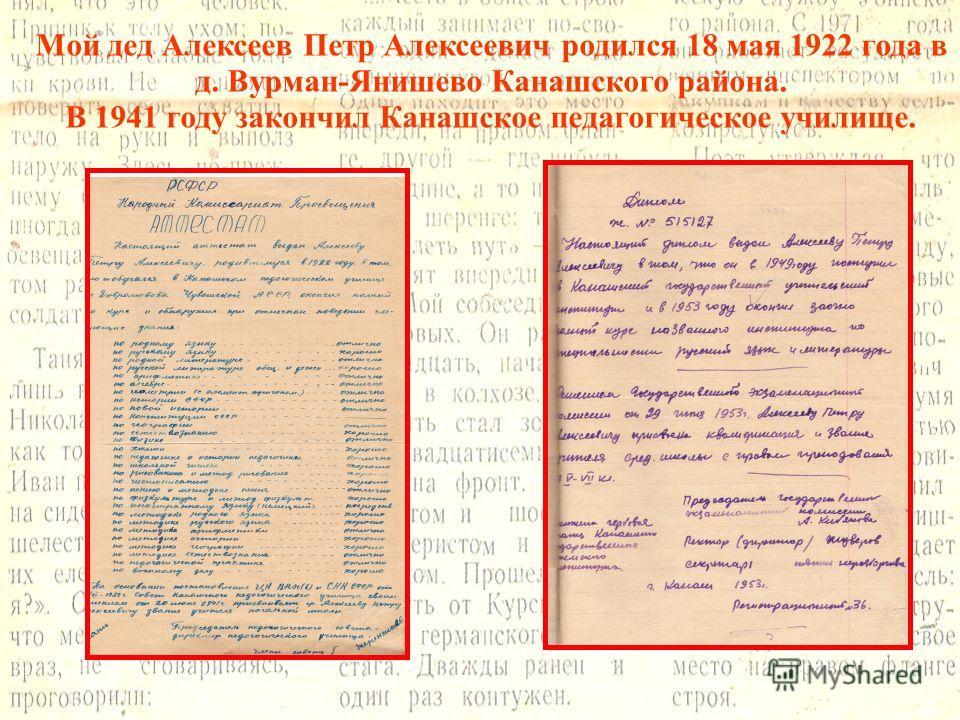 Мой дед Алексеев Петр Алексеевич родился 18 мая 1922 года в д. Вурман-Янишево Канашского района. В 1941 году закончил Канашское педагогическое училище.