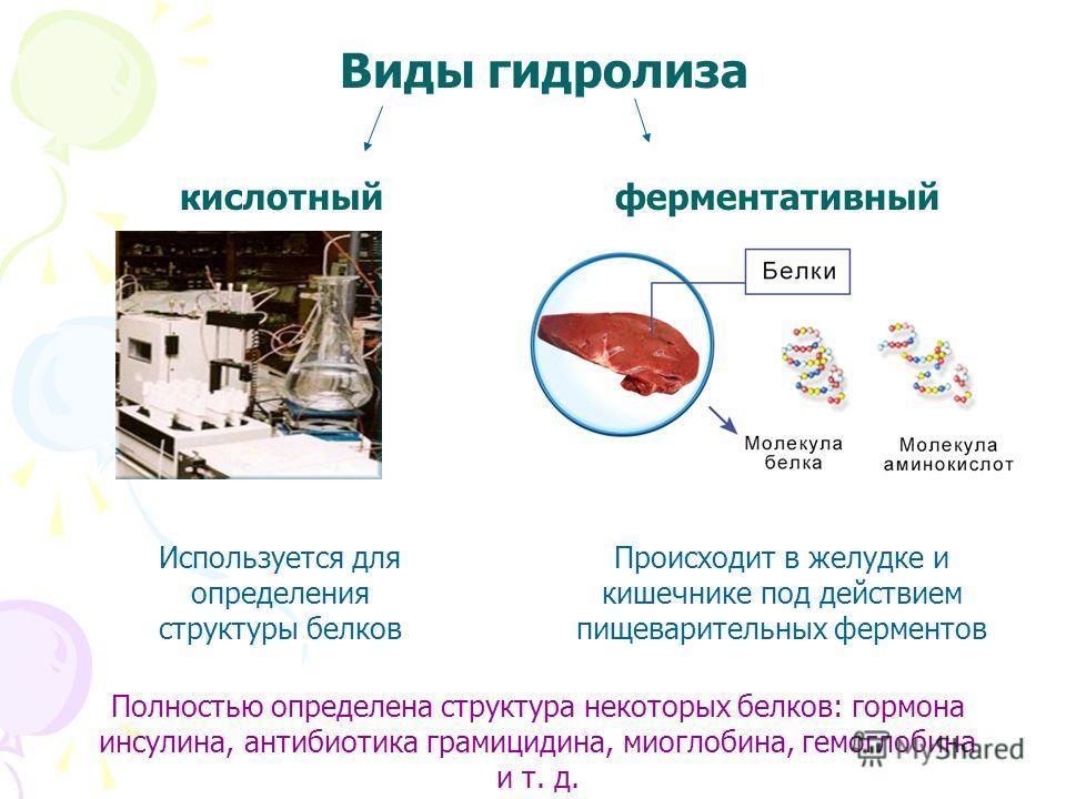 Виды гидролиза кислотныйферментативный Происходит в желудке и кишечнике под действием пищеварительных ферментов Используется для определения структуры белков Полностью определена структура некоторых белков: гормона инсулина, антибиотика грамицидина,