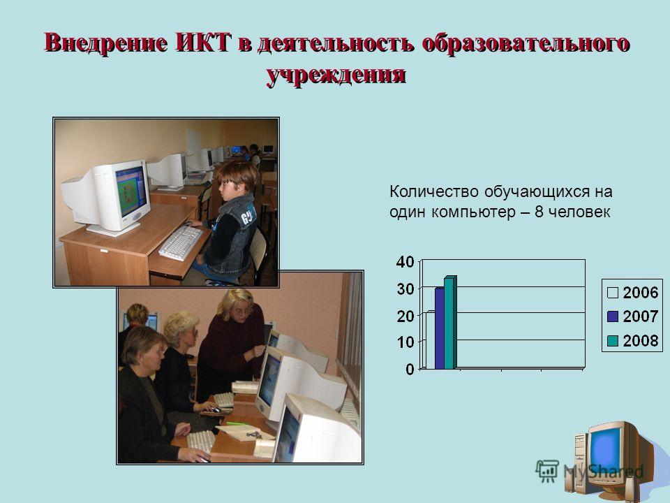 Внедрение ИКТ в деятельность образовательного учреждения Количество обучающихся на один компьютер – 8 человек