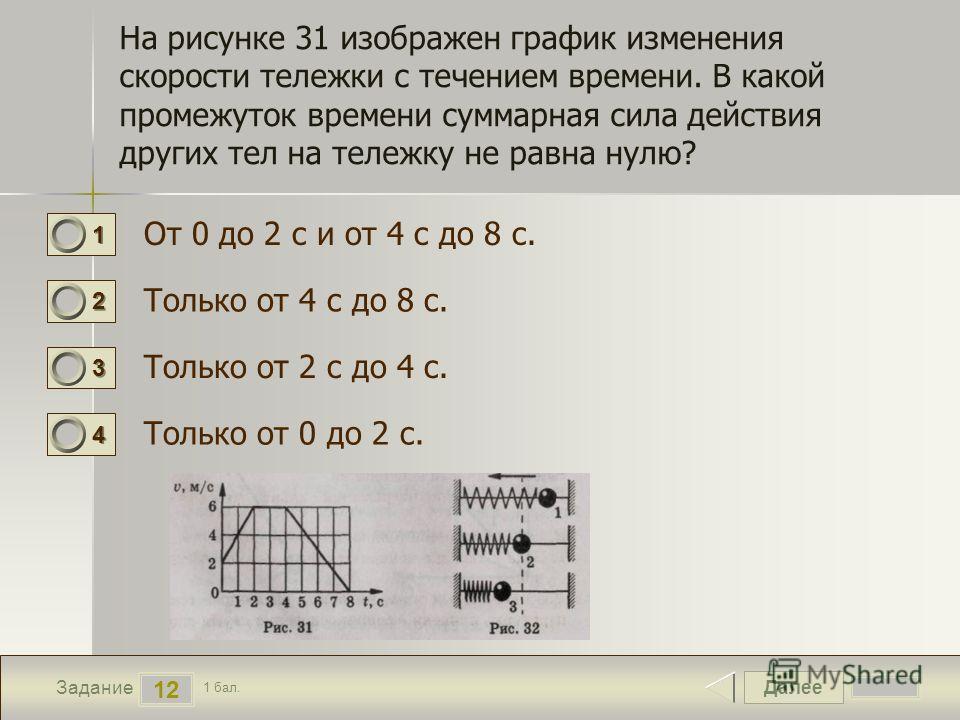 Далее 12 Задание 1 бал. 1111 2222 3333 4444 На рисунке 31 изображен график изменения скорости тележки с течением времени. В какой промежуток времени суммарная сила действия других тел на тележку не равна нулю? От 0 до 2 с и от 4 с до 8 с. Только от 4