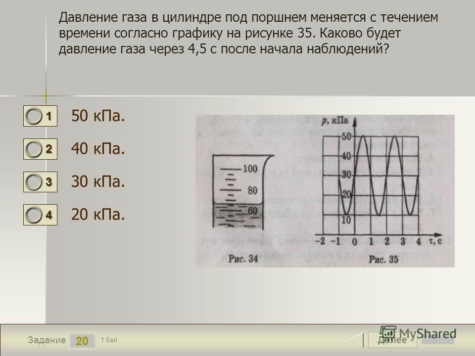 Далее 20 Задание 1 бал. 1111 2222 3333 4444 Давление газа в цилиндре под поршнем меняется с течением времени согласно графику на рисунке 35. Каково будет давление газа через 4,5 с после начала наблюдений? 50 кПа. 40 кПа. 30 кПа. 20 кПа.