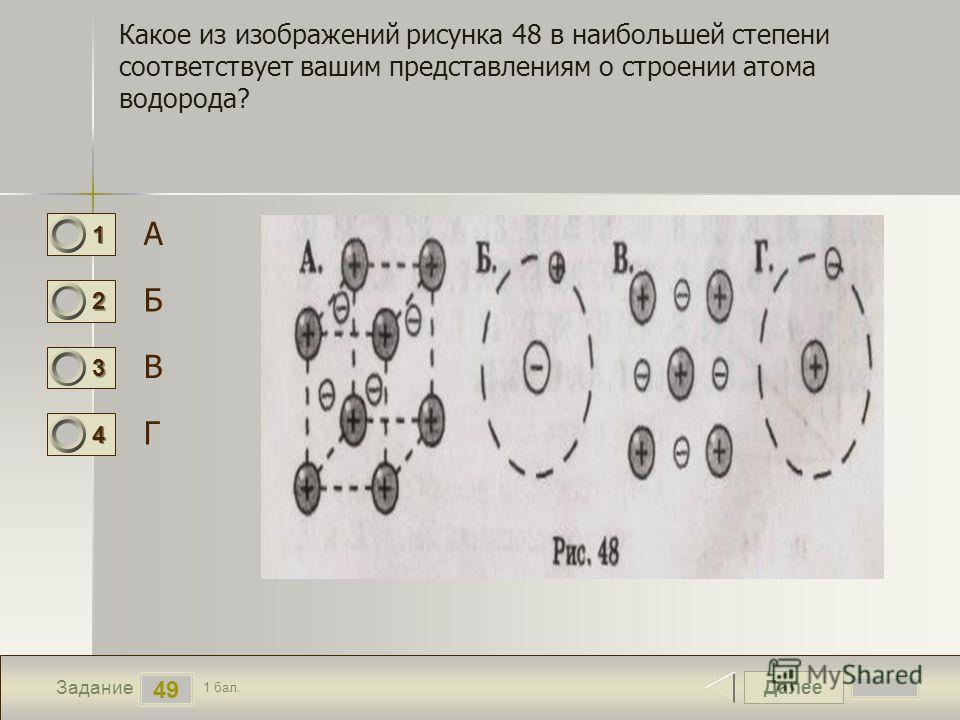 Далее 49 Задание 1 бал. 1111 2222 3333 4444 Какое из изображений рисунка 48 в наибольшей степени соответствует вашим представлениям о строении атома водорода? А Б В Г