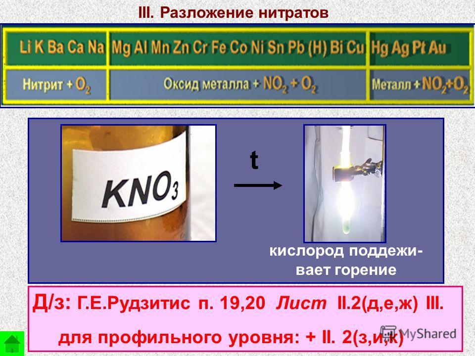 III. Разложение нитратов t кислород поддежи- вает горение Д/з: Г.Е.Рудзитис п. 19,20 Лист II.2(д,е,ж) III. для профильного уровня: + II. 2(з,и,к)