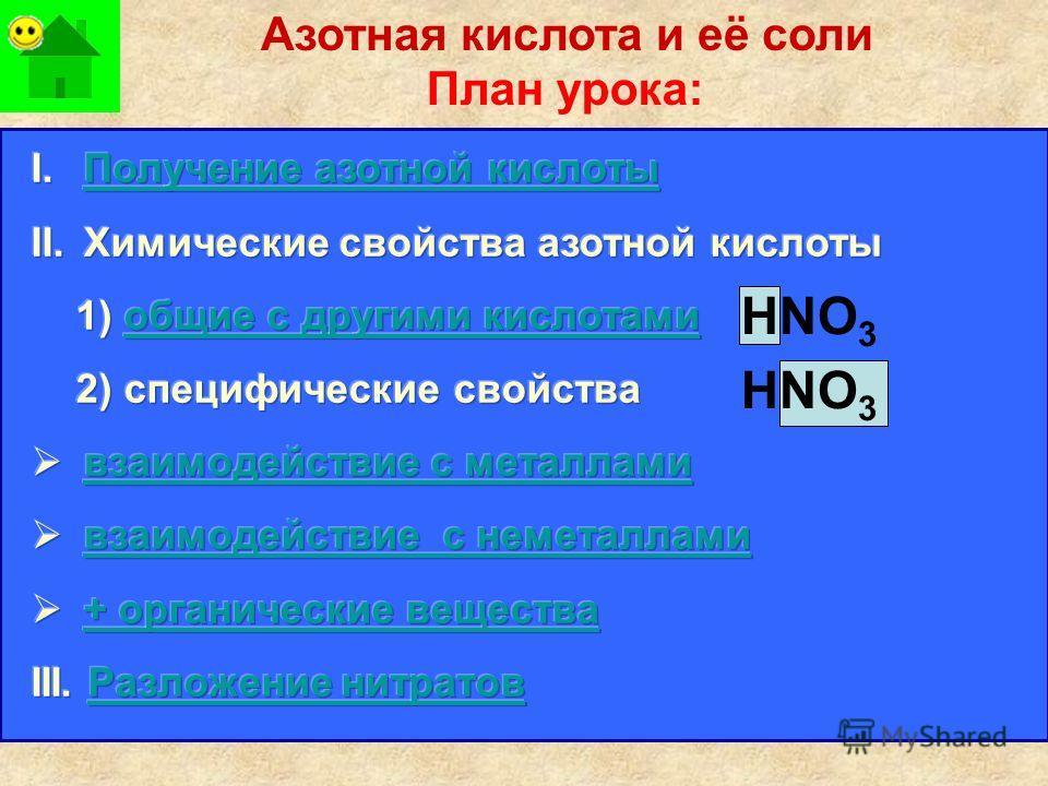 План урока: Азотная кислота и её соли НNO 3