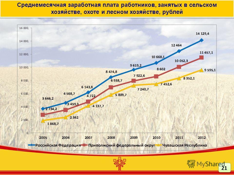 Среднемесячная заработная плата работников, занятых в сельском хозяйстве, охоте и лесном хозяйстве, рублей