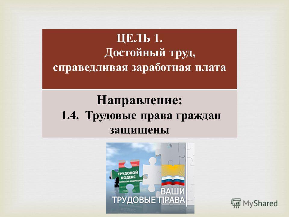 ЦЕЛЬ 1. Достойный труд, справедливая заработная плата Направление : 1.4. Трудовые права граждан защищены