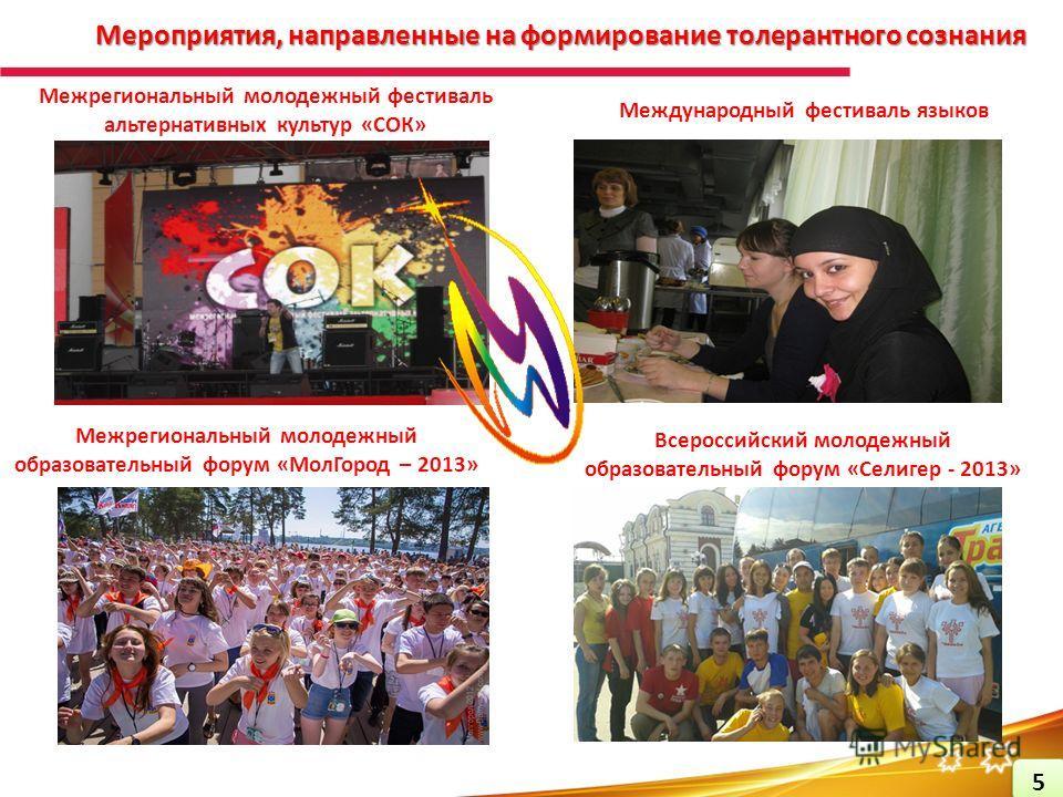 Мероприятия, направленные на формирование толерантного сознания Межрегиональный молодежный образовательный форум «МолГород – 2013» Межрегиональный молодежный фестиваль альтернативных культур «СОК» Международный фестиваль языков Всероссийский молодежн