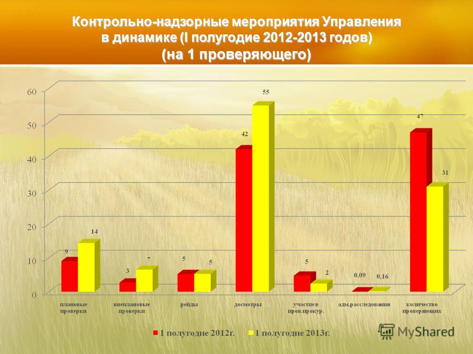 Контрольно-надзорные мероприятия Управления в динамике (I полугодие 2012-2013 годов) (на 1 проверяющего)