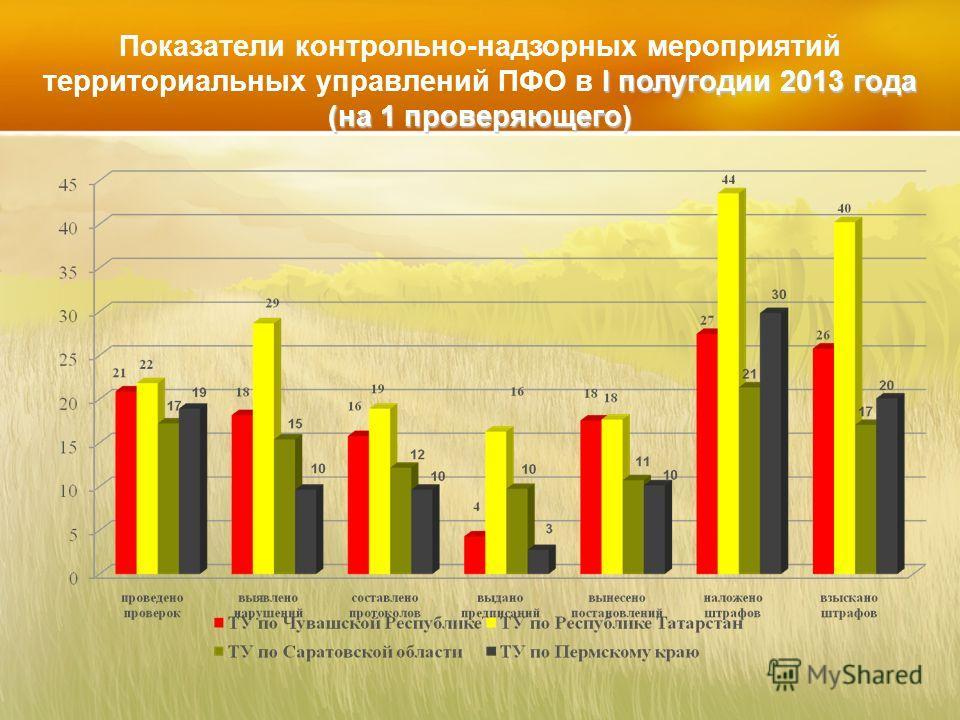 I полугодии 2013 года (на 1 проверяющего) Показатели контрольно-надзорных мероприятий территориальных управлений ПФО в I полугодии 2013 года (на 1 проверяющего)