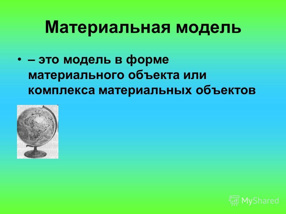 Материальная модель – это модель в форме материального объекта или комплекса материальных объектов